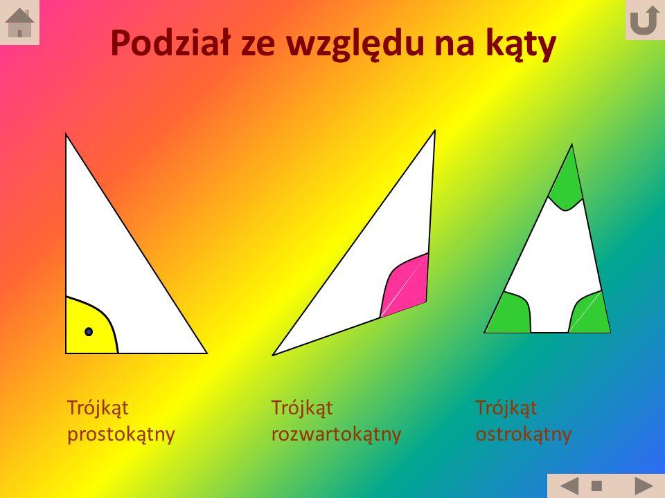 Trójkąt prostokątny Trójkąt ostrokątny Trójkąt rozwartokątny Podział ze względu na kąty