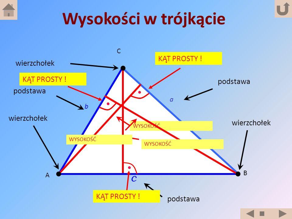 A B C b c a wierzchołek WYSOKOŚĆ podstawa Wysokości w trójkącie KĄT PROSTY ! wierzchołek podstawa WYSOKOŚĆ KĄT PROSTY !