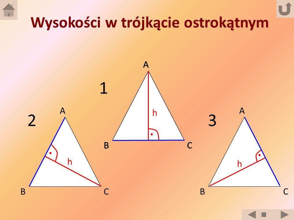 Wysokości w trójkącie ostrokątnym B A CB A CB A CB A CB A C h h h 1 32