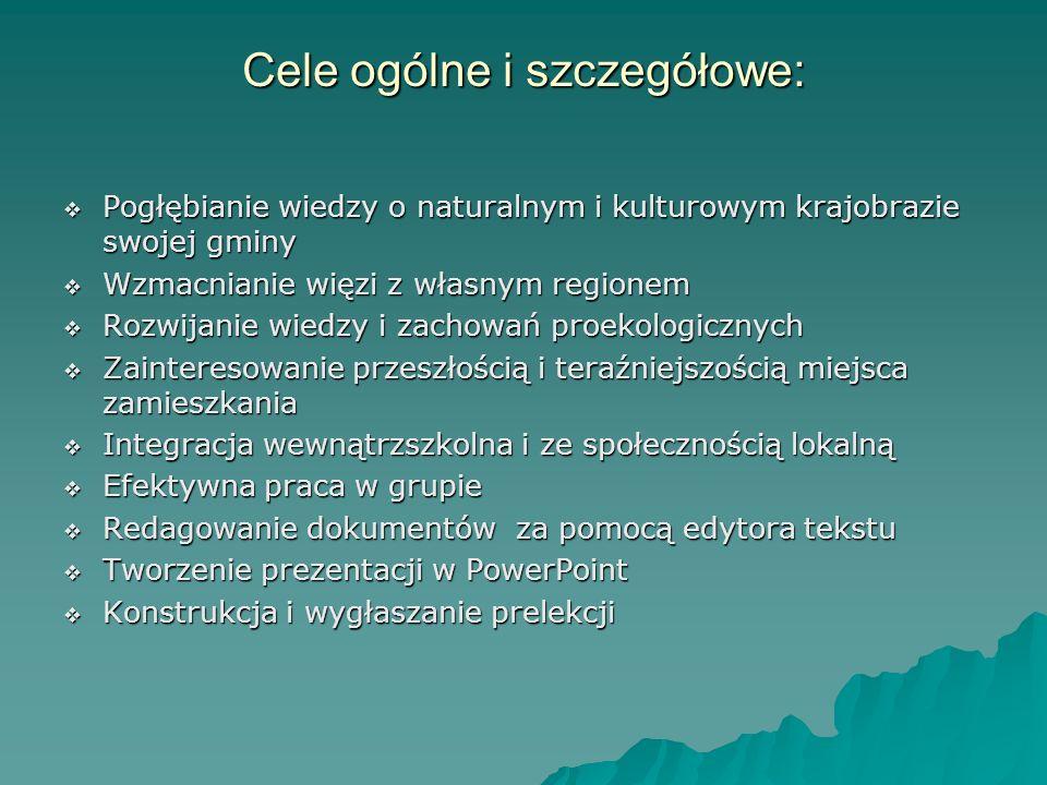 Cele ogólne i szczegółowe: Pogłębianie wiedzy o naturalnym i kulturowym krajobrazie swojej gminy Pogłębianie wiedzy o naturalnym i kulturowym krajobra
