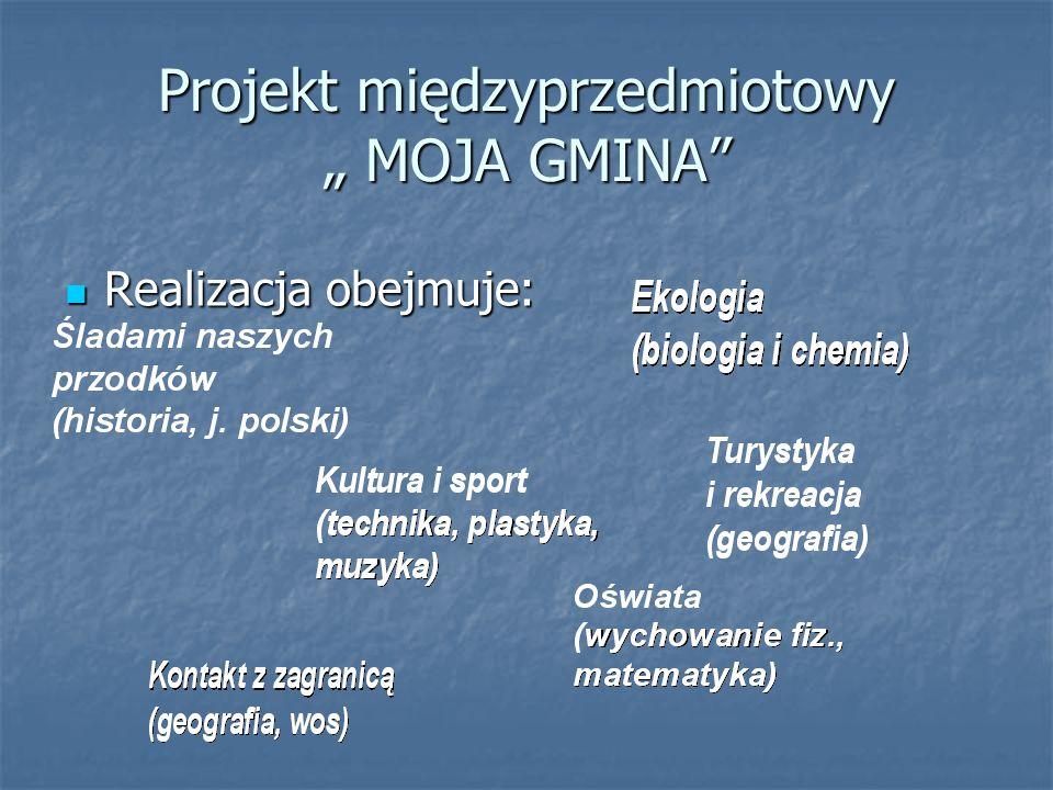 Realizacja obejmuje: Realizacja obejmuje: Projekt międzyprzedmiotowy MOJA GMINA
