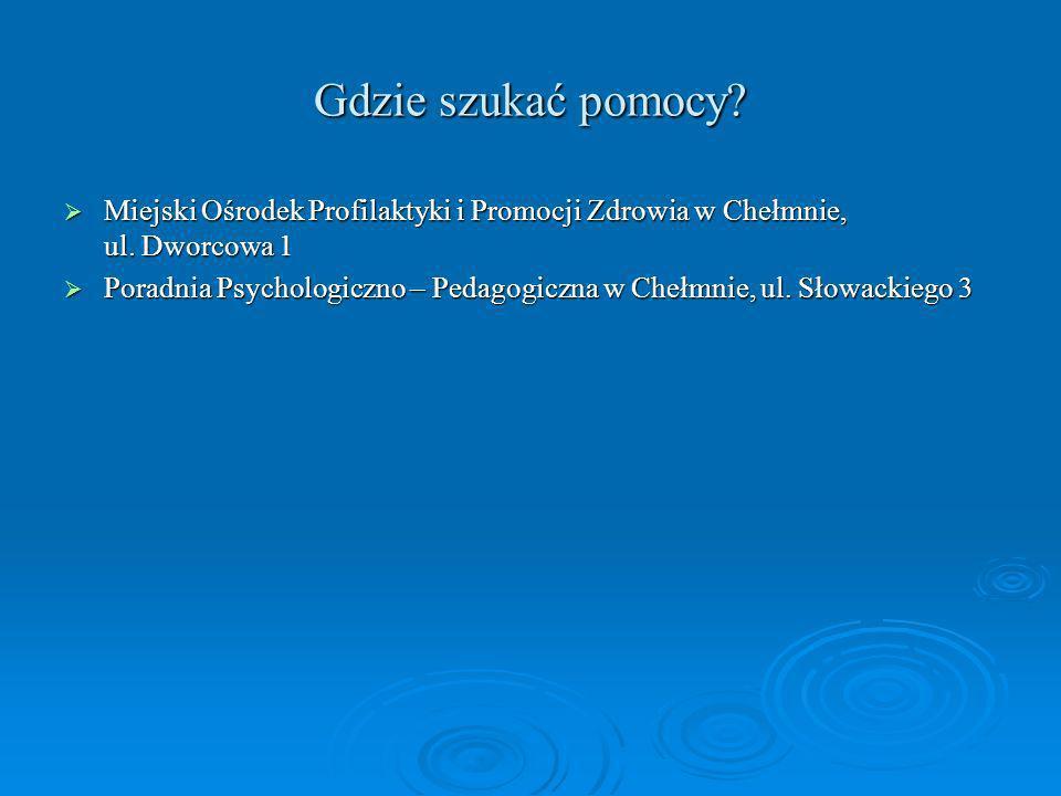 Gdzie szukać pomocy? Miejski Ośrodek Profilaktyki i Promocji Zdrowia w Chełmnie, ul. Dworcowa 1 Miejski Ośrodek Profilaktyki i Promocji Zdrowia w Cheł