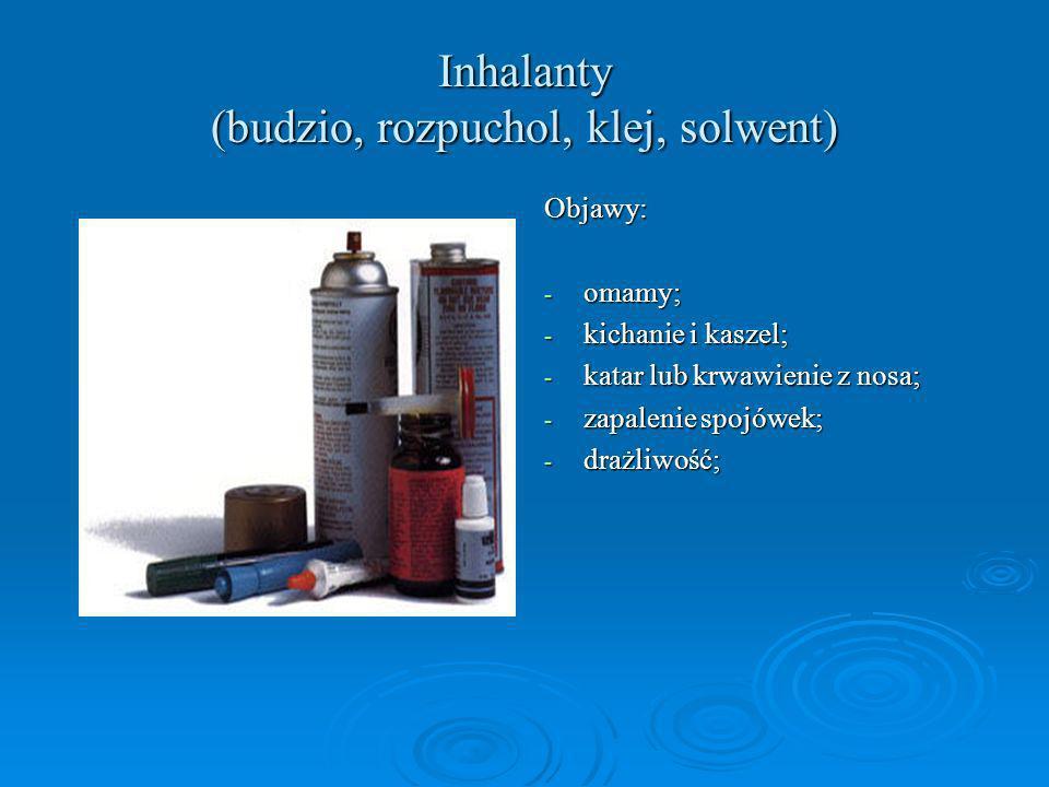 Inhalanty (budzio, rozpuchol, klej, solwent) Objawy: - omamy; - kichanie i kaszel; - katar lub krwawienie z nosa; - zapalenie spojówek; - drażliwość;