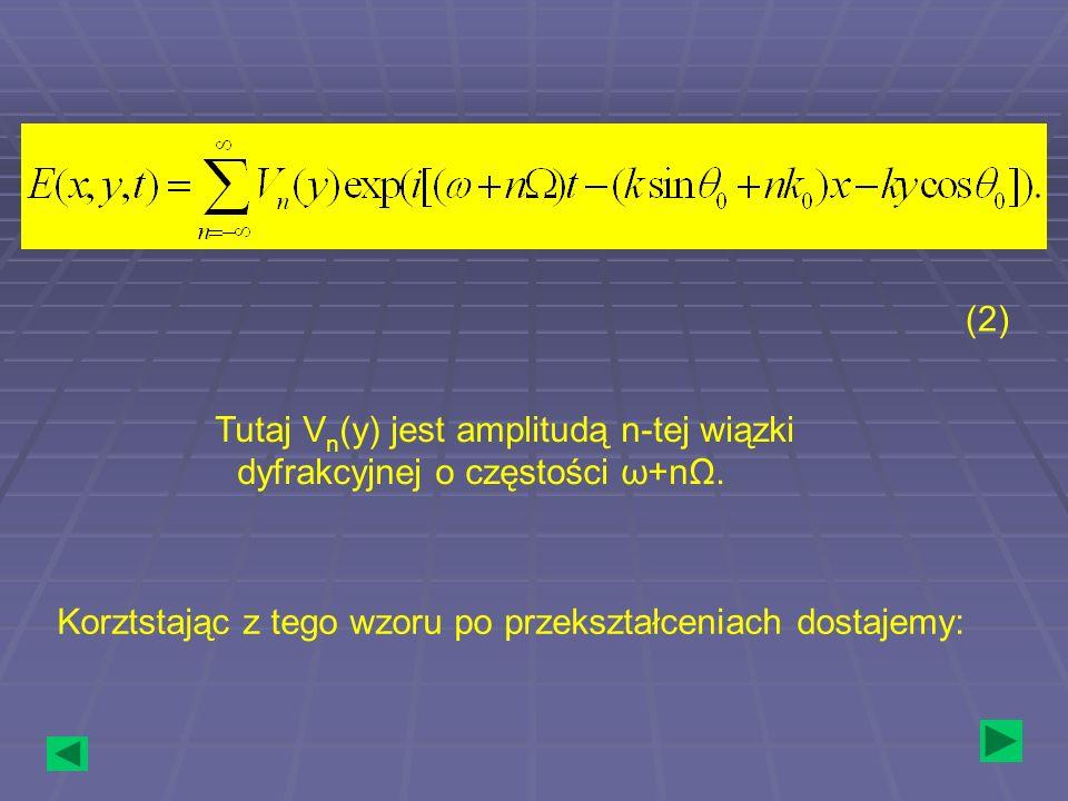 Tutaj V n (y) jest amplitudą n-tej wiązki dyfrakcyjnej o częstości ω+nΩ. (2) Korztstając z tego wzoru po przekształceniach dostajemy: