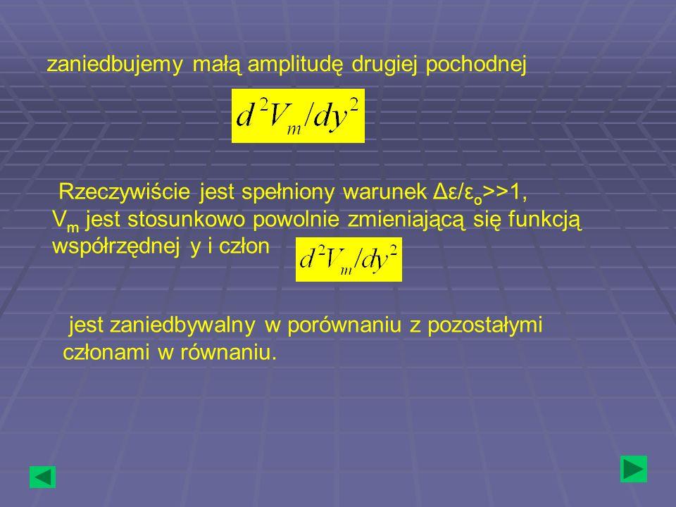 zaniedbujemy małą amplitudę drugiej pochodnej Rzeczywiście jest spełniony warunek Δε/ε o >>1, V m jest stosunkowo powolnie zmieniającą się funkcją wsp