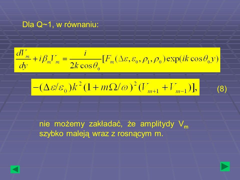 Dla Q~1, w równaniu: nie możemy zakładać, że amplitydy V m szybko maleją wraz z rosnącym m. (8)