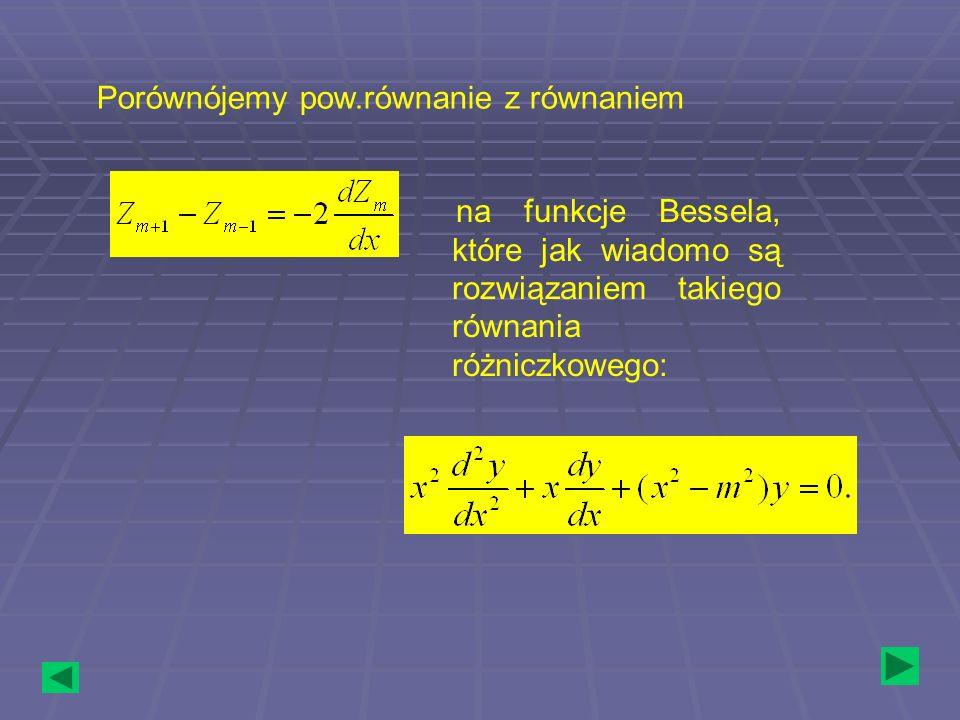 Porównójemy pow.równanie z równaniem na funkcje Bessela, które jak wiadomo są rozwiązaniem takiego równania różniczkowego: