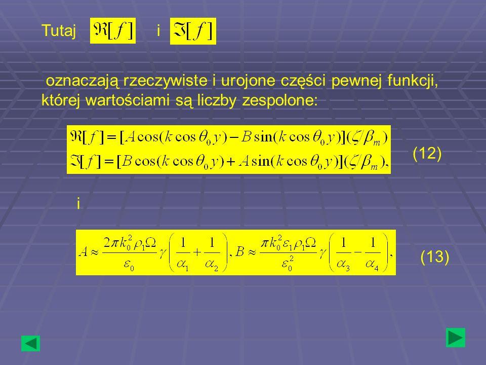 Tutaj i oznaczają rzeczywiste i urojone części pewnej funkcji, której wartościami są liczby zespolone: i (12) (13)