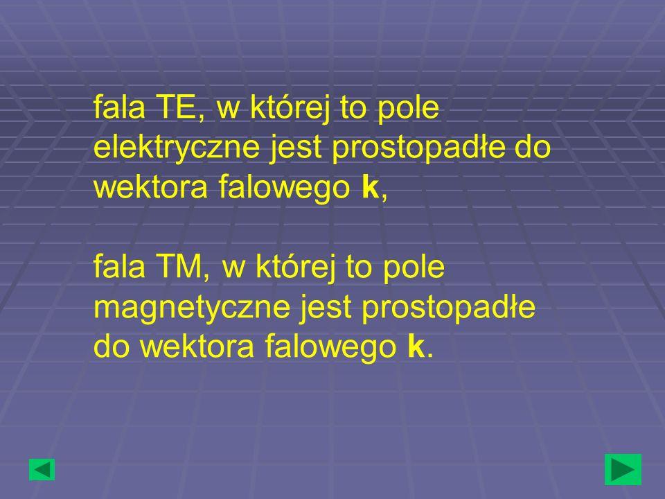 fala TE, w której to pole elektryczne jest prostopadłe do wektora falowego k, fala TM, w której to pole magnetyczne jest prostopadłe do wektora falowe
