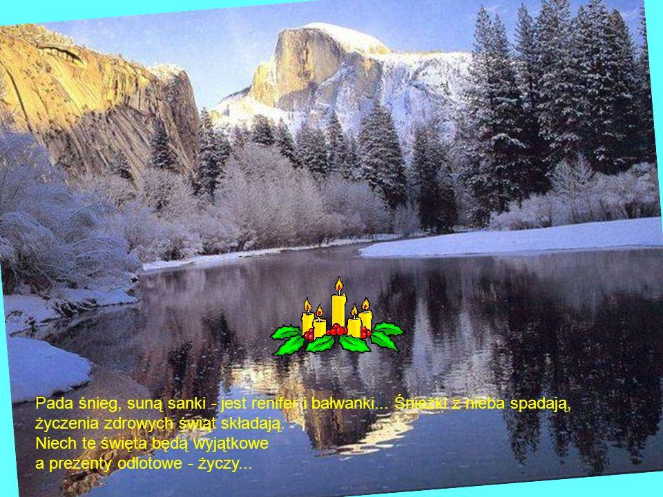 Pada śnieg, suną sanki - jest renifer i bałwanki... Śnieżki z nieba spadają, życzenia zdrowych świąt składają. Niech te święta będą wyjątkowe a prezen