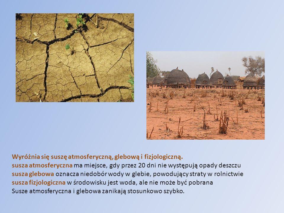 Wyróżnia się suszę atmosferyczną, glebową i fizjologiczną. susza atmosferyczna ma miejsce, gdy przez 20 dni nie występują opady deszczu susza glebowa