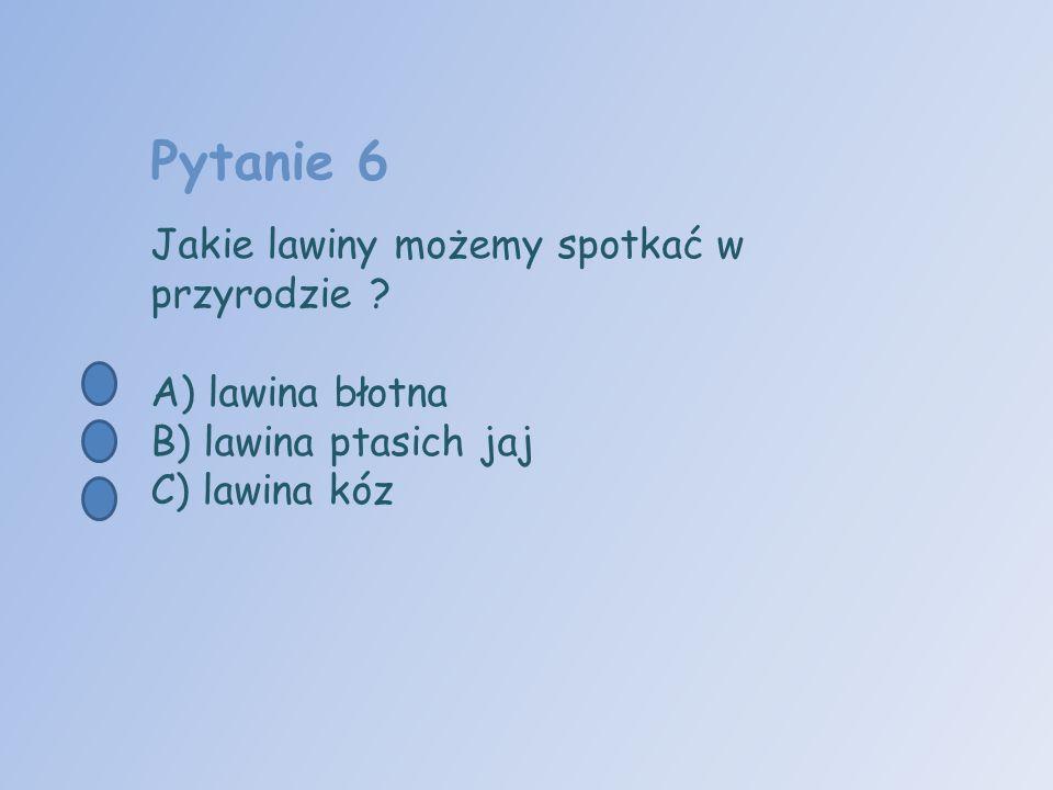 Pytanie 6 Jakie lawiny możemy spotkać w przyrodzie ? A) lawina błotna B) lawina ptasich jaj C) lawina kóz