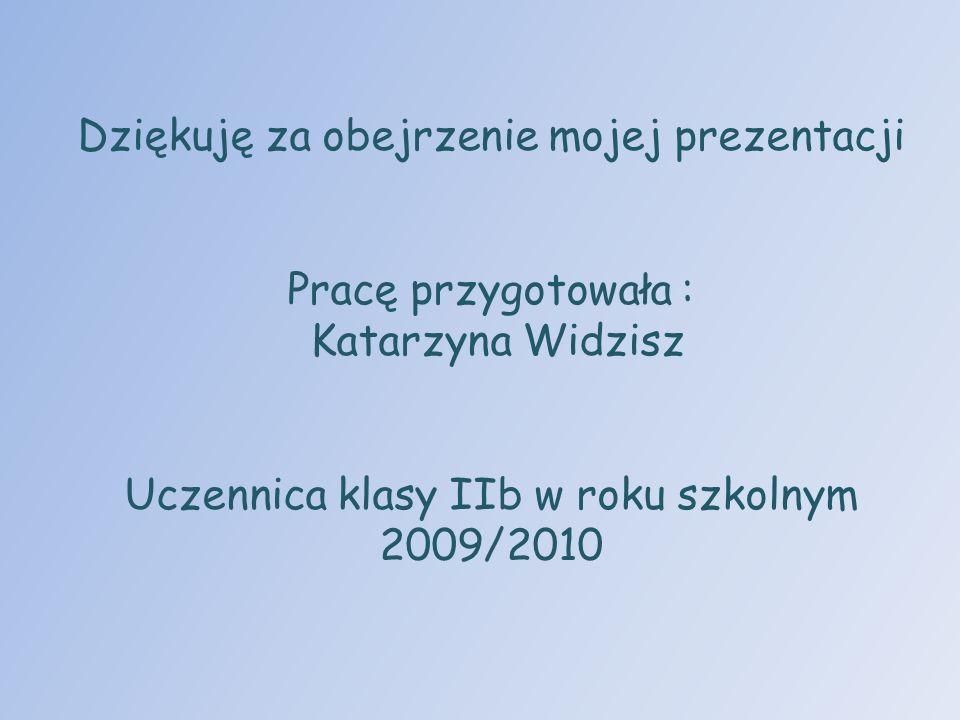 Dziękuję za obejrzenie mojej prezentacji Pracę przygotowała : Katarzyna Widzisz Uczennica klasy IIb w roku szkolnym 2009/2010