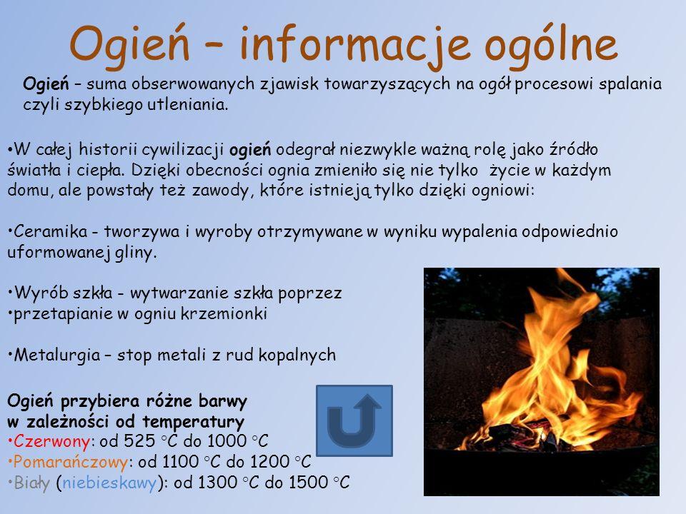 Ogień – informacje ogólne Ogień – suma obserwowanych zjawisk towarzyszących na ogół procesowi spalania czyli szybkiego utleniania. W całej historii cy