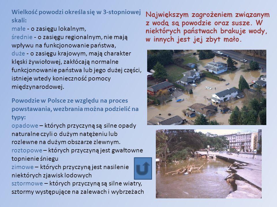 Powodzie w Polsce ze względu na proces powstawania, wezbrania można podzielić na typy: opadowe – których przyczyną są silne opady naturalne czyli o du