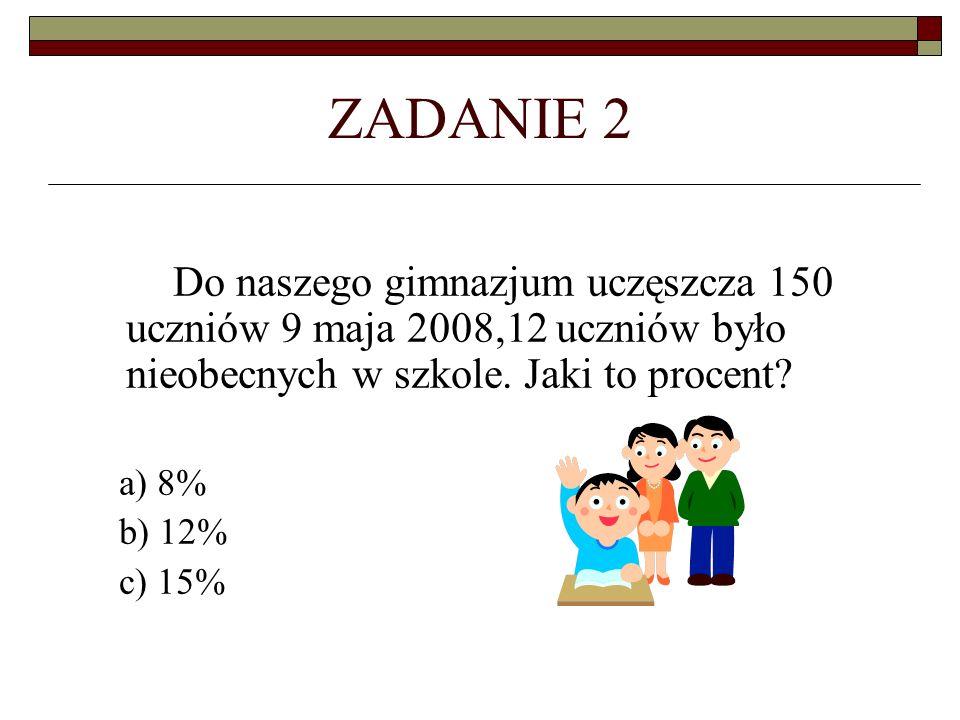 ZADANIE 2 Do naszego gimnazjum uczęszcza 150 uczniów 9 maja 2008,12 uczniów było nieobecnych w szkole. Jaki to procent? a) 8% b) 12% c) 15%
