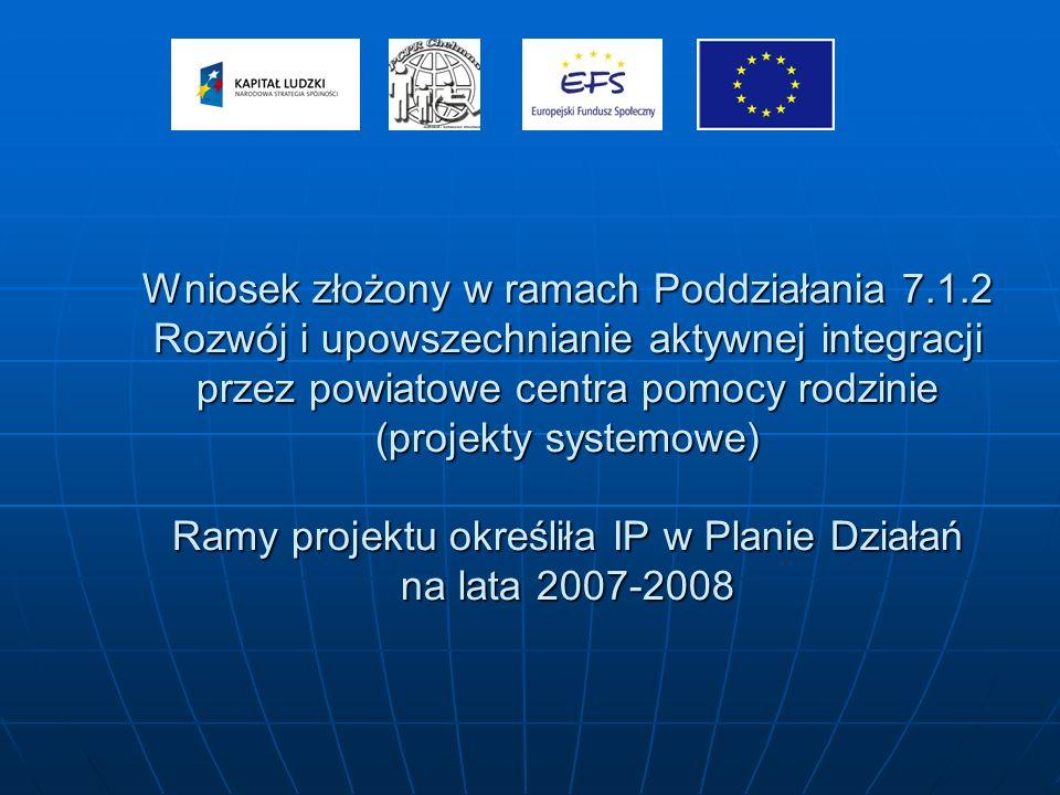 Wniosek złożony w ramach Poddziałania 7.1.2 Rozwój i upowszechnianie aktywnej integracji przez powiatowe centra pomocy rodzinie (projekty systemowe) Ramy projektu określiła IP w Planie Działań na lata 2007-2008