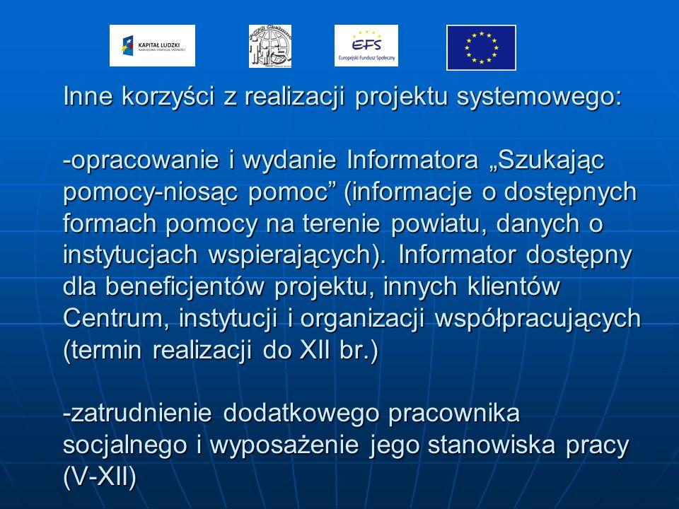Inne korzyści z realizacji projektu systemowego: -opracowanie i wydanie Informatora Szukając pomocy-niosąc pomoc (informacje o dostępnych formach pomocy na terenie powiatu, danych o instytucjach wspierających).