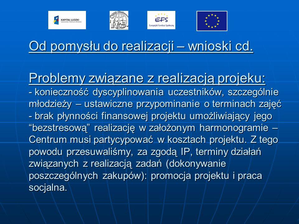 Od pomysłu do realizacji – wnioski cd. Problemy związane z realizacją projeku: - konieczność dyscyplinowania uczestników, szczególnie młodzieży – usta