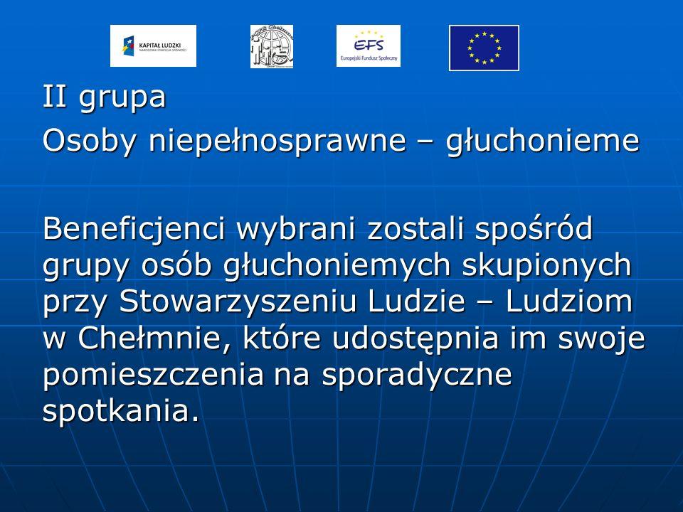 II grupa Osoby niepełnosprawne – głuchonieme Beneficjenci wybrani zostali spośród grupy osób głuchoniemych skupionych przy Stowarzyszeniu Ludzie – Lud