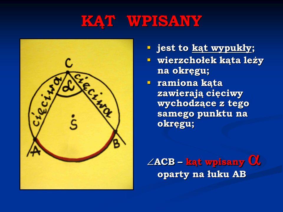 KĄT ŚRODKOWY wierzchołek tego kąta jest środkiem okręgu (koła); ramiona kąta zawierają dwa promienie tego samego okręgu (koła); ASB – kąt środkowy oparty na łuku AB Kąt środkowy wyznacza wycinek koła.