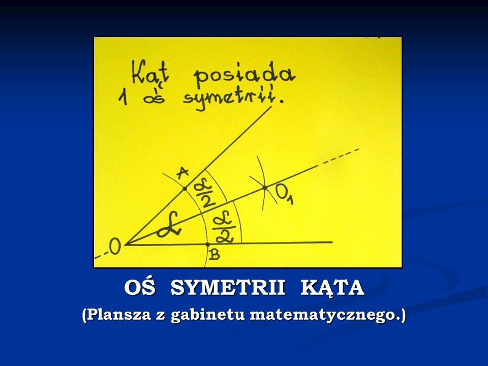 OŚ SYMETRII KĄTA (Plansza z gabinetu matematycznego.)