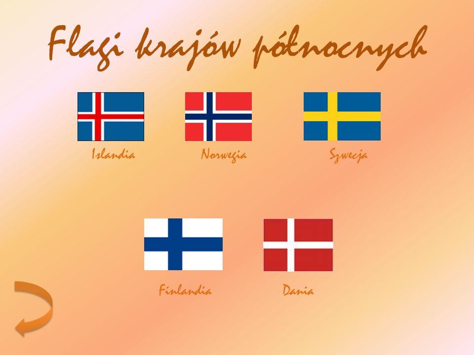 Flagi krajów północnych Islandia Norwegia Szwecja Finlandia Dania