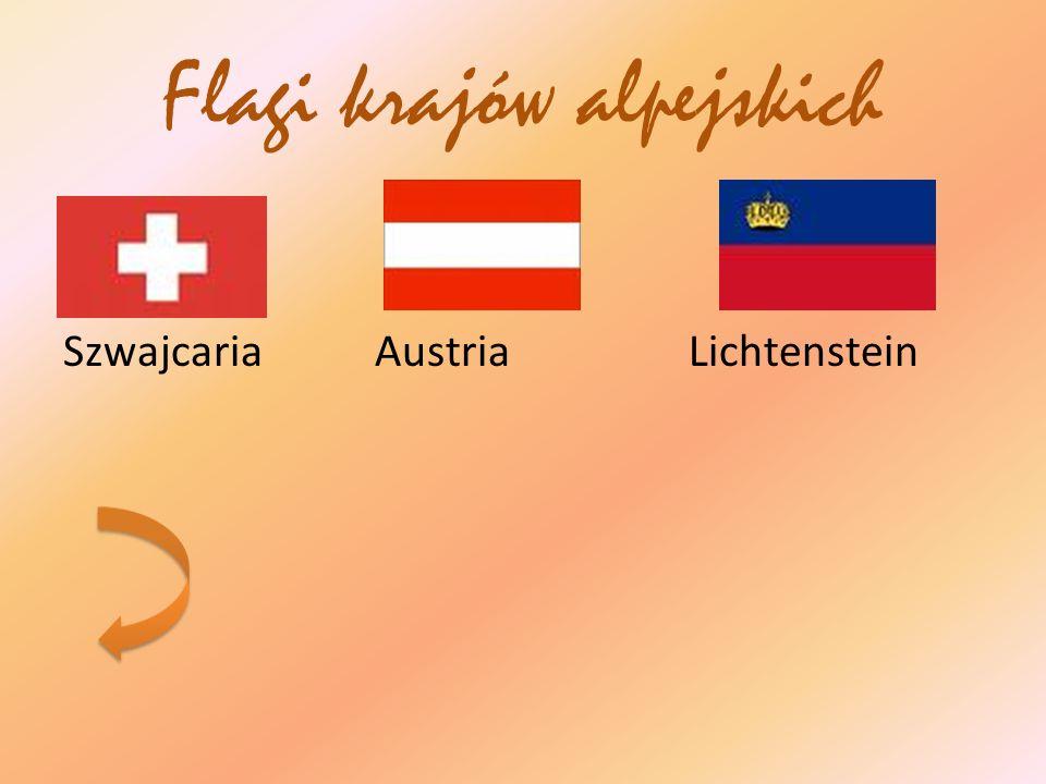 Flagi krajów alpejskich Szwajcaria Austria Lichtenstein