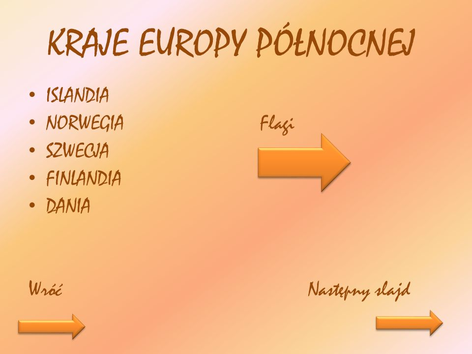 KRAJE EUROPY PÓŁNOCNEJ ISLANDIA NORWEGIA Flagi SZWECJA FINLANDIA DANIA Wróć Następny slajd