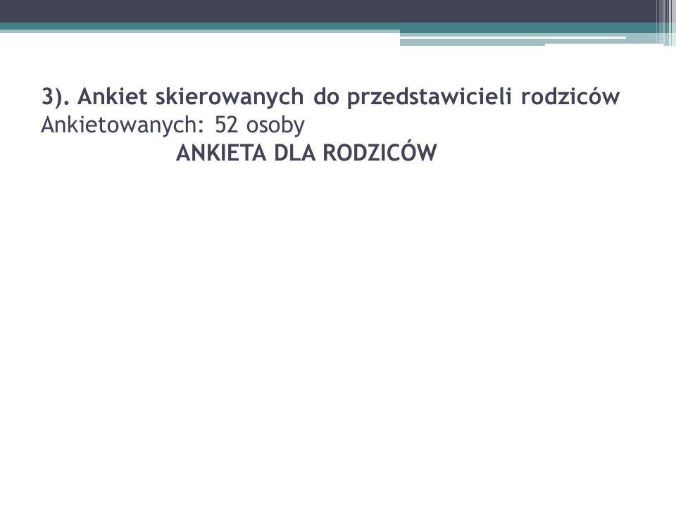 3). Ankiet skierowanych do przedstawicieli rodziców Ankietowanych: 52 osoby ANKIETA DLA RODZICÓW