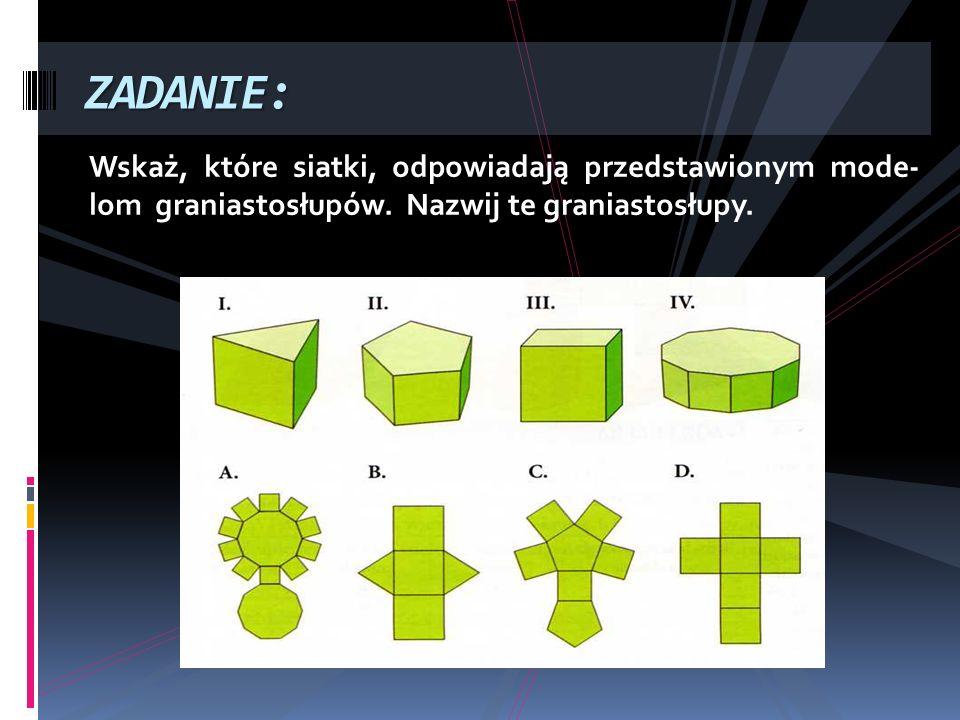 Wskaż, które siatki, odpowiadają przedstawionym mode- lom graniastosłupów. Nazwij te graniastosłupy. ZADANIE: