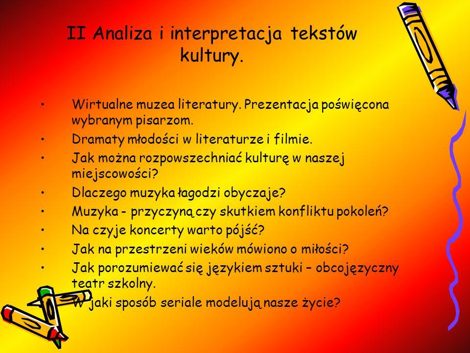 II Analiza i interpretacja tekstów kultury.Wirtualne muzea literatury.