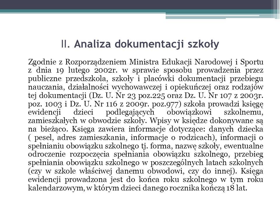 II. Analiza dokumentacji szkoły Zgodnie z Rozporządzeniem Ministra Edukacji Narodowej i Sportu z dnia 19 lutego 2002r. w sprawie sposobu prowadzenia p