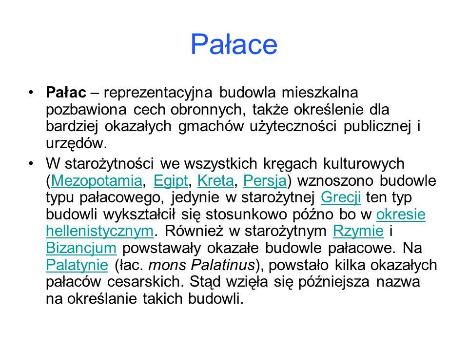 Pałace Pałac – reprezentacyjna budowla mieszkalna pozbawiona cech obronnych, także określenie dla bardziej okazałych gmachów użyteczności publicznej i