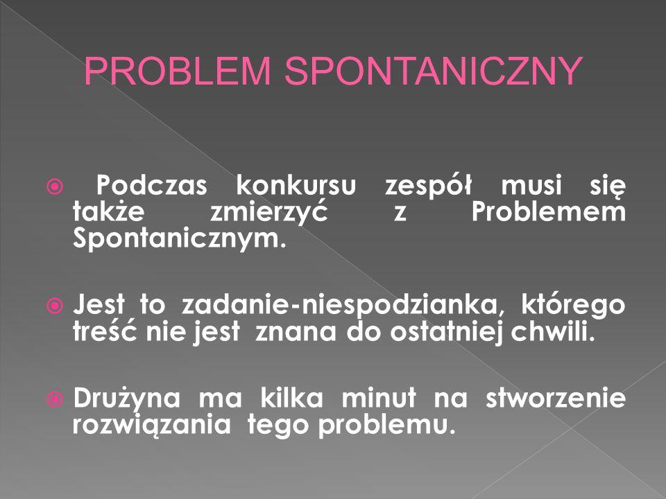 Podczas konkursu zespół musi się także zmierzyć z Problemem Spontanicznym.