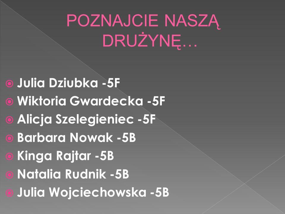 Julia Dziubka -5F Wiktoria Gwardecka -5F Alicja Szelegieniec -5F Barbara Nowak -5B Kinga Rajtar -5B Natalia Rudnik -5B Julia Wojciechowska -5B