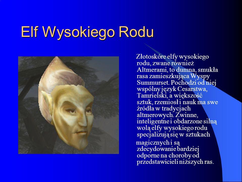 Elf Wysokiego Rodu Złotoskóre elfy wysokiego rodu, zwane również Altmerami, to dumna, smukła rasa zamieszkująca Wyspy Summurset.
