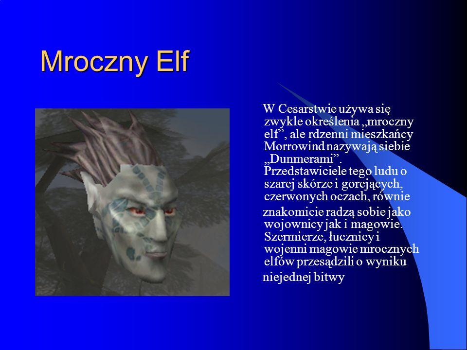 Mroczny Elf W Cesarstwie używa się zwykle określenia mroczny elf, ale rdzenni mieszkańcy Morrowind nazywają siebie Dunmerami.