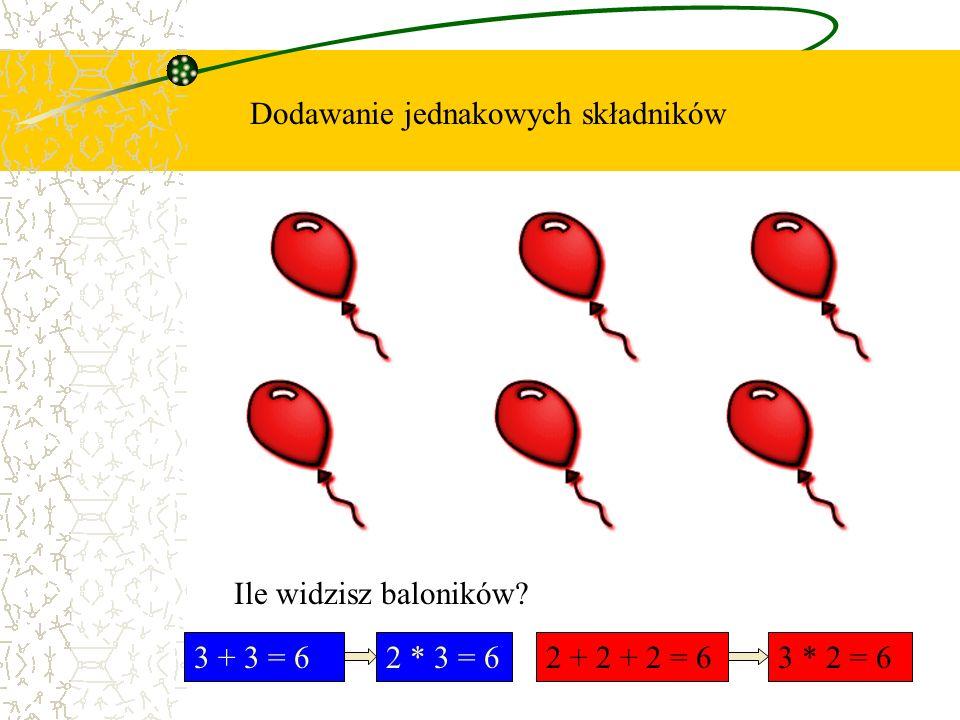 Dodawanie jednakowych składników Ile widzisz baloników? 3 + 3 = 62 * 3 = 62 + 2 + 2 = 63 * 2 = 6