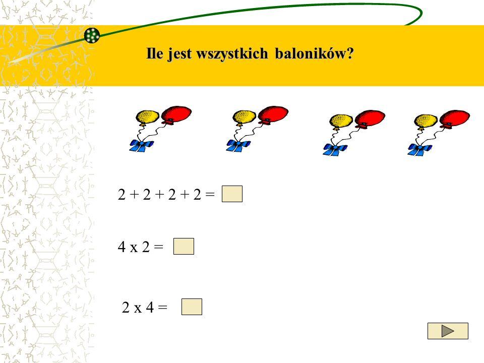 Ile jest wszystkich baloników? 2 + 2 + 2 + 2 = 4 x 2 = 2 x 4 =