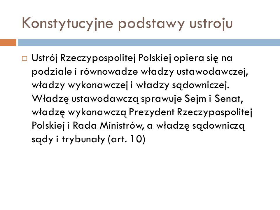 Konstytucyjne podstawy ustroju Ustrój Rzeczypospolitej Polskiej opiera się na podziale i równowadze władzy ustawodawczej, władzy wykonawczej i władzy sądowniczej.