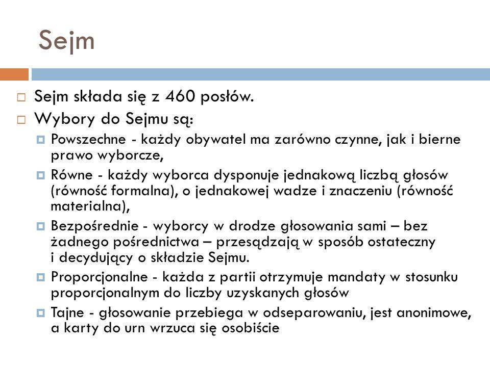 Sejm Sejm składa się z 460 posłów.
