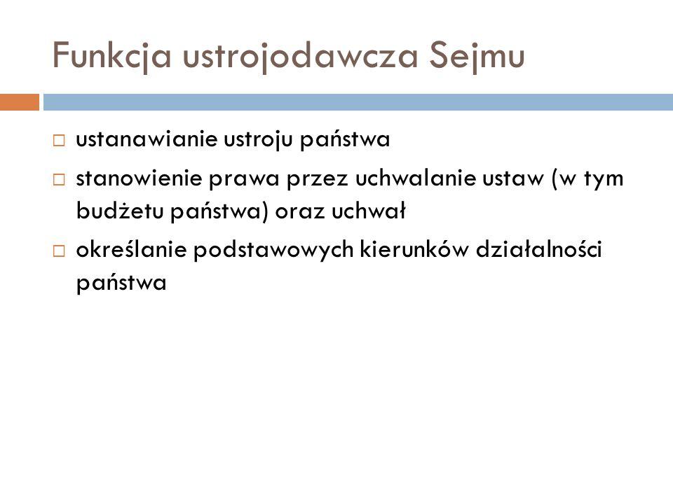 Funkcja ustrojodawcza Sejmu ustanawianie ustroju państwa stanowienie prawa przez uchwalanie ustaw (w tym budżetu państwa) oraz uchwał określanie podstawowych kierunków działalności państwa