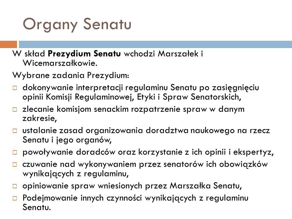 Organy Senatu W skład Prezydium Senatu wchodzi Marszałek i Wicemarszałkowie.