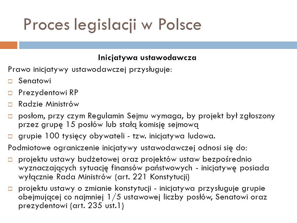 Proces legislacji w Polsce Inicjatywa ustawodawcza Prawo inicjatywy ustawodawczej przysługuje: Senatowi Prezydentowi RP Radzie Ministrów posłom, przy czym Regulamin Sejmu wymaga, by projekt był zgłoszony przez grupę 15 posłów lub stałą komisję sejmową grupie 100 tysięcy obywateli - tzw.