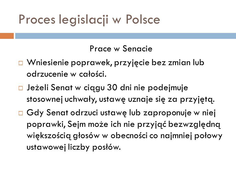 Proces legislacji w Polsce Prace w Senacie Wniesienie poprawek, przyjęcie bez zmian lub odrzucenie w całości.