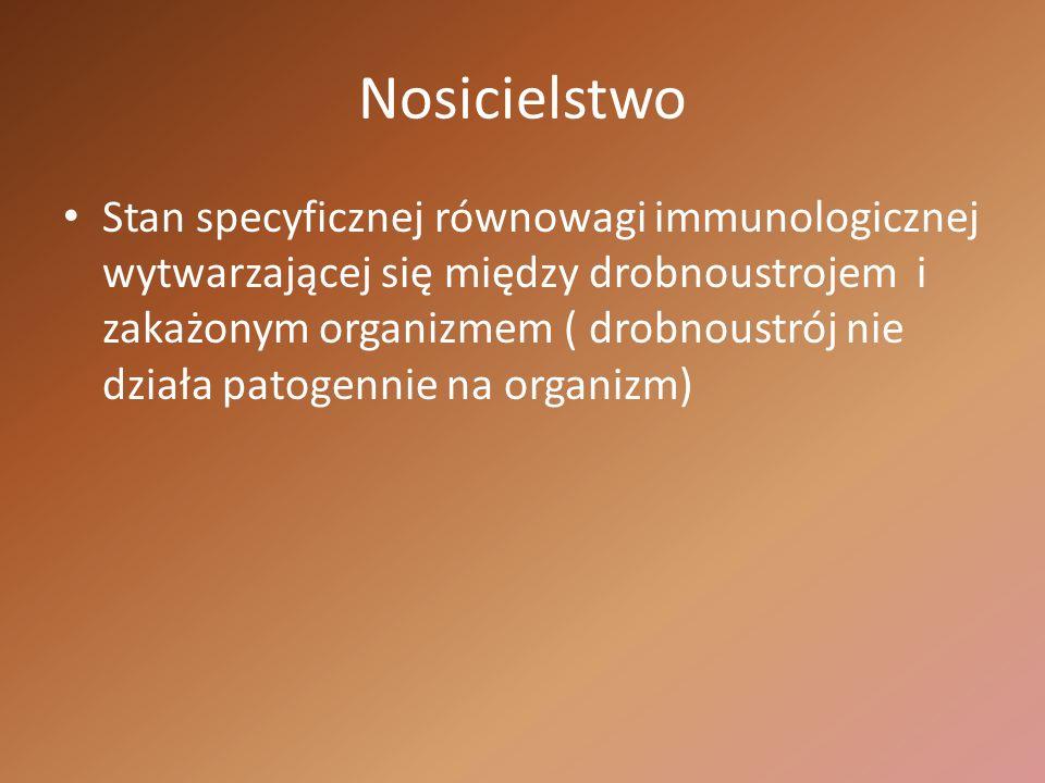 Nosicielstwo Stan specyficznej równowagi immunologicznej wytwarzającej się między drobnoustrojem i zakażonym organizmem ( drobnoustrój nie działa pato