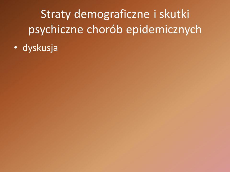 Straty demograficzne i skutki psychiczne chorób epidemicznych dyskusja