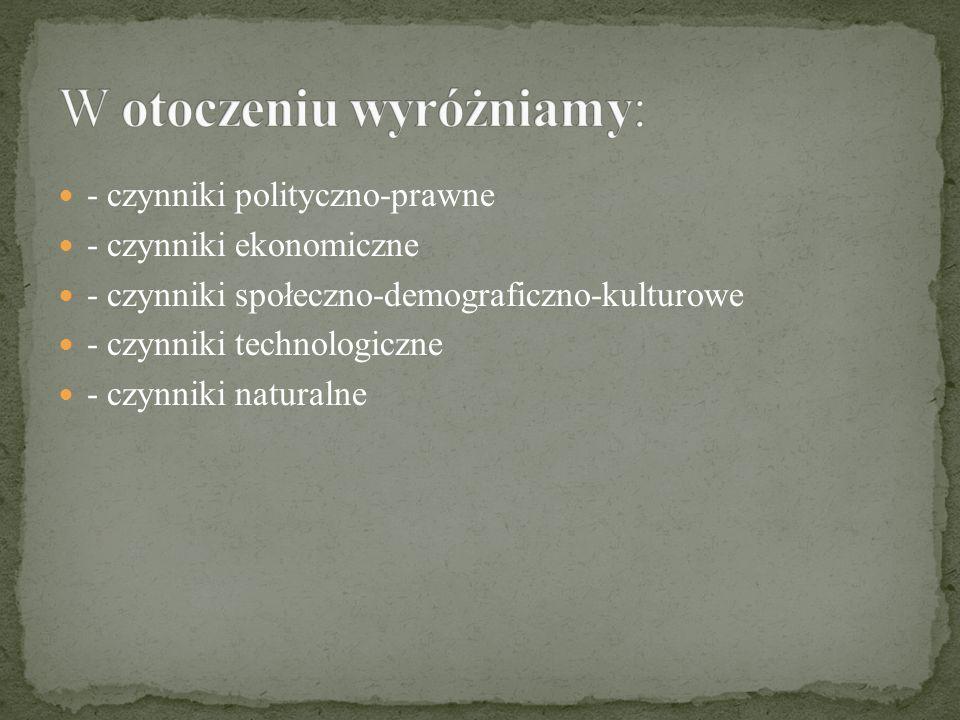 - czynniki polityczno-prawne - czynniki ekonomiczne - czynniki społeczno-demograficzno-kulturowe - czynniki technologiczne - czynniki naturalne