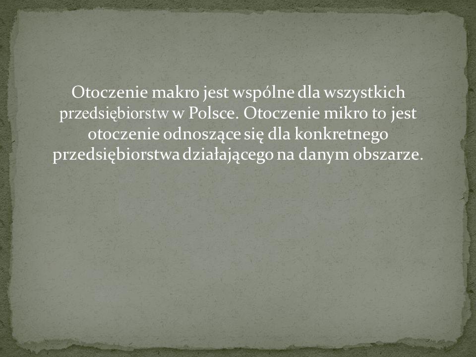 Otoczenie makro jest wspólne dla wszystkich przedsiębiorstw w Polsce. Otoczenie mikro to jest otoczenie odnoszące się dla konkretnego przedsiębiorstwa